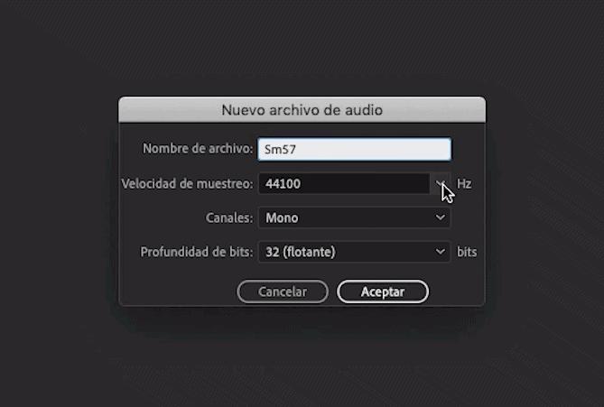 Crear nuevo archivo de audio