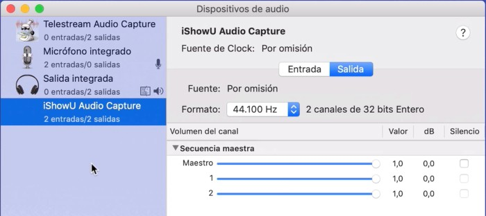panel dispositivos audio y midi para grabar pantalla y audio interno en mac con quicktime