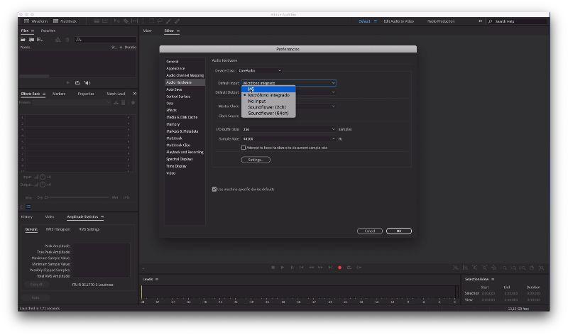 Cómo configurar micrófono usb en Adobe Audition