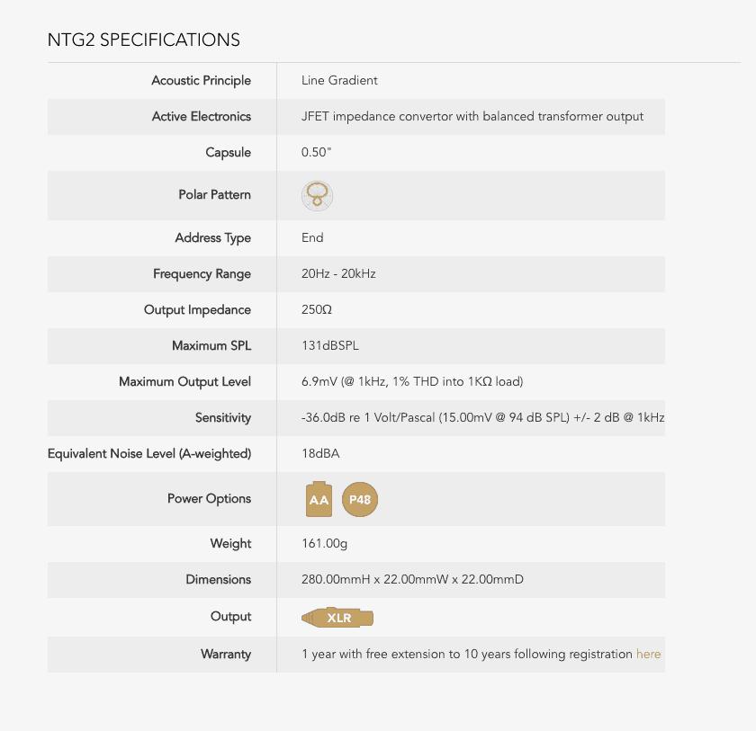 especificaciones rode ntg2