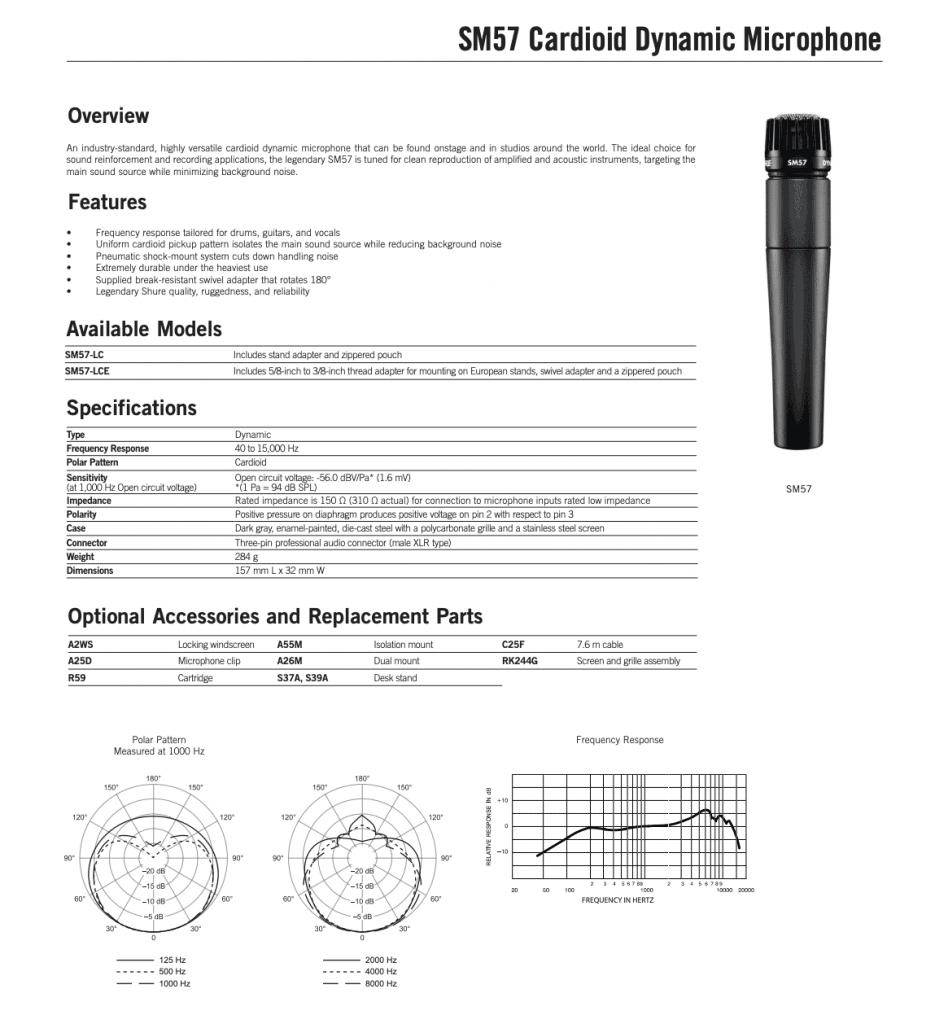 especificaciones shure sm57